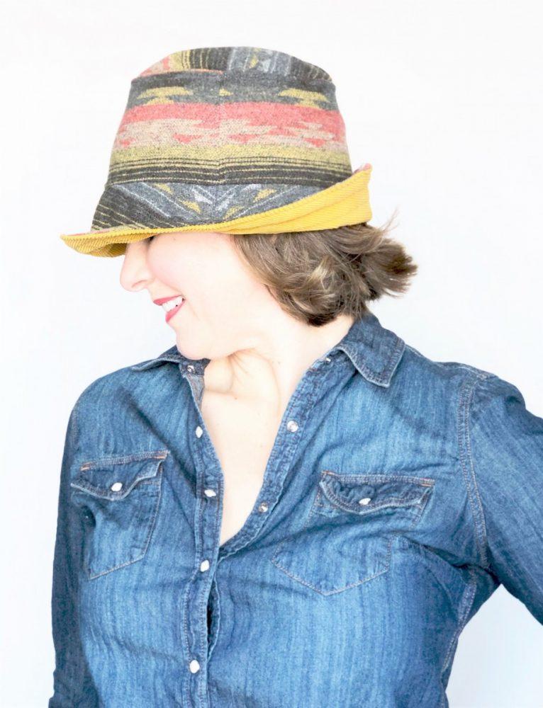 corduroy wide brim reversible handmade hat